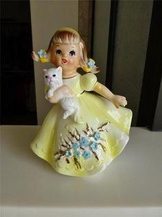 Cute Girl Figurine with her Kitten