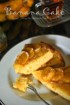 banana cake with honey topping