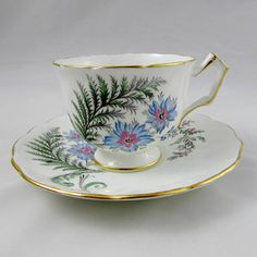 Aynsley Tea Cup and Saucer with Blue Flowers, Vintage Bone China, Crocus Shape