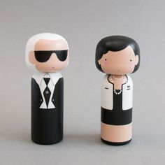 Karl Lagerfeld & Coco Chanel Kokeshi Dolls by Sketch Inc for Lucie Kaas