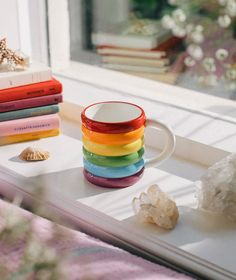 """Ceramic mug with a bumpy colorful texture that will spark joy to your home! You can use it as a mug or as a little plant pot for your cactus. Details: 3.5""""D x 3.9""""W x 5.5""""H Ceramic Dishwasher, microwave, freezer and oven safe Ceramic Clay, Ceramic Pottery, Pottery Art, Cute Coffee Mugs, Cool Mugs, Pottery Painting, Ceramic Painting, Cerámica Ideas, Cute Cups"""