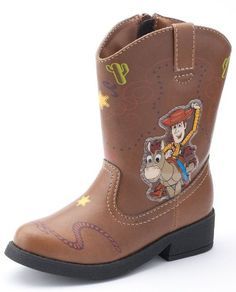 Disney Toy Story Light Up Cowboy Boots with Sheriff Woody and Bullseye (Toddler Size 5): Brown Faux-Leather Western Costume Shoe...