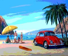 "VW Surf art picture - 16"" x 20"" canvas stretched over wooden frame: Amazon.co.uk: Kitchen & Home"