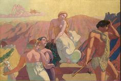 Maurice Denis, Panel Psyche's Kin Bid Her Farewell on a Mountain Top, oil on canvas, 180 State Hermitage Museum, St. Maurice Denis, Pierre Bonnard, Paul Gauguin, Figure Painting, Painting & Drawing, Heinrich Vogeler, Art Magique, Top Paintings, Art Français