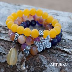 three bracelets ,a135,bracelet,eco,beaded brancelet,for gift, boho bracelets, agate, butterfly, for her, pendant by Artseko on Etsy