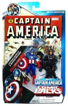 """Marvel Universe Greatest Battles Exclusive Action Figure 2Pack Captain America Winter Soldier by Hasbro Toys. $12.40. For Ages 4 & Up. Includes Captain America Issue #14 comic book and two articulated action figures. Marvel Universe 3 3/4"""" action figure comic pack from Hasbro. CAPTAIN AMERICA has prepared for this moment for weeks. The return of his old partner Bucky as the brainwashed WINTER SOLDIER shook his world to its foundations, but now he has a chance t..."""