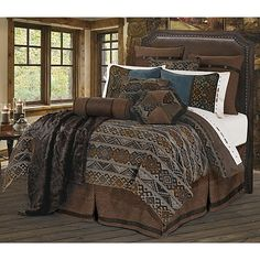 Southwestern navajo pattern chenille western duvet set perfectly blended with chocolate, tweed and concho accents includes Duvet, Pillow Sham(s), Neck Roll Pillow, and co-ordinated Bedskirt. (Twin size includes one pillow sham)