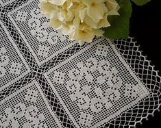 Hand crochet square doily, white crochet lace doily, filet crochet, crochet tablecloth, hand lace placemat, housewarming gift