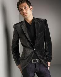 Tallia Printed Black Velvet Blazer- Slim Fit - Blazers & Sport ...