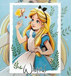 Alice [feat. a bread & butterfly] (Drawing by Wistful.Art @Facebook) #AliceInWonderland