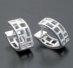 Zina - Windows Hinged Sterling Silver Huggie Hoop Earrings #39592 $150.00 at Castle Gap Jewelry #jewelry