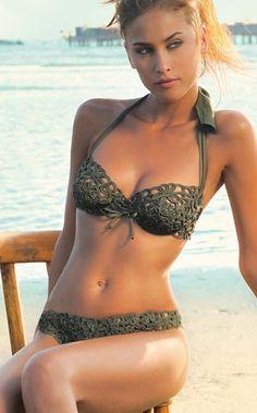 Olive bikini crochet top style Nicole Olivier Swimwear, summer beach swim wear
