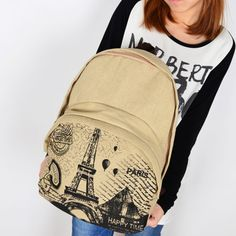 Vintage Eiffel Tower Coining Canvas Backpack