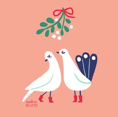 2 Turtle Doves by Carolina Buzio Available as a christmas card on my shop: https://www.etsy.com/listing/211818988/twelve-days-of-christmas-greeting-cards