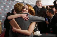 Sophie Turner hugs Jack Gleeson Game of Thrones season 4 premiere