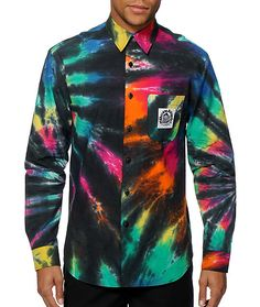 NLTDC Mens Button UP Tie Dye UV Reactive Shiert by NLTDC on Etsy