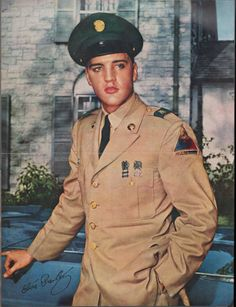 1950's Magazine Pull-out poster; features Elvis Presley is military uniform.
