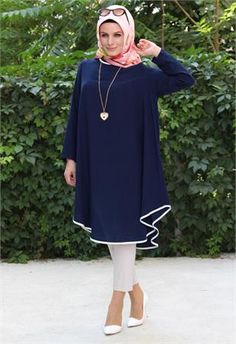 Manşet Biyeli Tunik-Lacivert-1917 Islamic Fashion, Muslim Fashion, Modest Fashion, Hijab Fashion, Fashion Outfits, Modest Wear, Modest Dresses, Modest Outfits, Casual Hijab Outfit