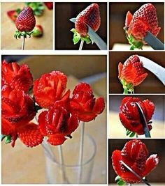 How to make lovely strawberry roses step by step DIY tutorial instructions