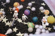 Sensory Bin ideas. Love the Outer Space one, would be fun for the girls since we will be studying Astronomy this year   Small Potatoes