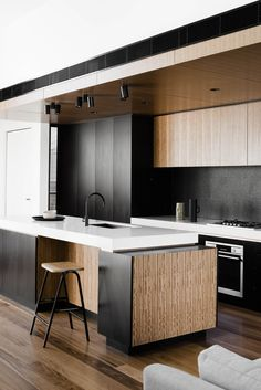 Black and timber kitchen design