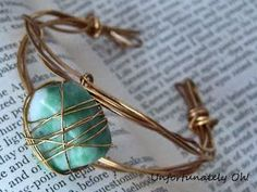DIY Wire wrapped stone cuff.