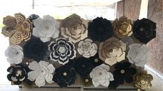 Great gatsby theme party, paper flower backdrop, white, black and gold