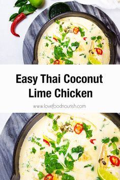 This creamy Thai coconut lime chicken is full of flavour. The coconut lime sauce blends creamy coconut goodness with zesty lime which the succulent chicken cooks in perfectly! Gluten-Free, Dairy-Free, Paleo-Friendly. Coconut Lime Chicken, Thai Coconut, Paleo Chicken Recipes, Soup Recipes, Healthy Dinners, Lunches And Dinners, Clean Eating Recipes For Dinner, Dinner Recipes, Dairy Free