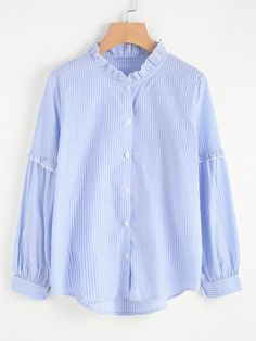 Blouses by BORNTOWEAR. Frilled Detail Pinstripe Blouse