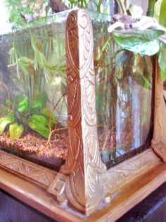 """Upside Down Coffee Table(?) with Aquarium;) ... Detail of vintage """"Jewell"""""""