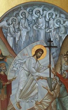 Jesus Christ descends to hell Religious Images, Religious Icons, Religious Art, Byzantine Art, Byzantine Icons, Life Of Christ, Religious Paintings, Jesus Art, Mary And Jesus