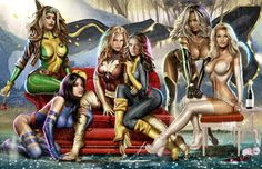 Women of X-men by Greg Horn....lets see who we knkw that fits in this pic with us Mimi
