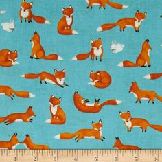Forest Friends Fox Fun in Turquoise by by scarletthreadquiltco, $9.25 -- for Kathy?