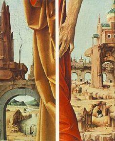 Francesco del Cossa - San Pietro e San Giovanni Battista (Polittico Griffoni), dettagli - 1473 - Pinacoteca di Brera, Milano