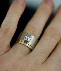 modern wide princess moissanite engagement ring lunar by lolide - Wide Band Wedding Rings