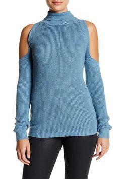 Turtleneck Cold Shoulder Sweater