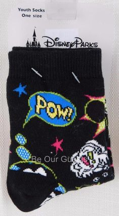 Disney Theme Parks Youth Mickey Minnie Pow Zap Boom Action Comic Book Socks New #Disney