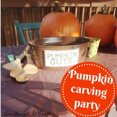 Host a pumpkin carving party this year. Free printables here! Halloween School Treats, Easy Halloween, Halloween Pumpkins, Halloween Stuff, Vintage Halloween, Halloween Makeup, Fall Harvest Party, Halloween Party Appetizers, Pumpkin Carving Party