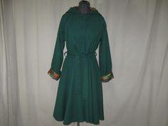 Vintage Custom Tailored Green Hooded Belted Full Skirted Swing Trench Princess Coat Medium Large