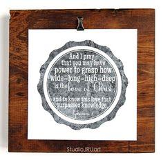 Scripture Art, The Love of Christ, Mothers Of Daughters, Art Print | StudioJRU - Print on ArtFire. Available in three color choices! #scriptureart #faithart #artprint #studiojru