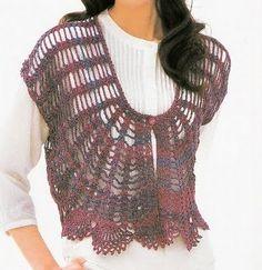 crochet top with pattern Crochet Shirt, Crochet Jacket, Crochet Cardigan, Knit Crochet, Crochet Bodies, Lacey Tops, Diy Tops, Crochet Clothes, Crochet Patterns