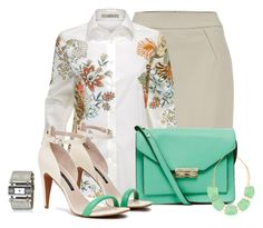 """Office outfit: Mint - Nude - Floral"" by downtownblues ❤ liked on Polyvore featuring French Connection"