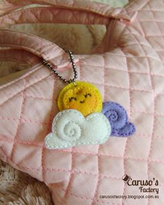 Kawaii felt sun and clouds hanging pendant for necklace or charm for bag very cute lovely gift for fun mum or little girls