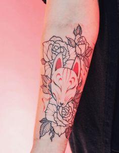 Kitsune (=fox) mask is a very popular tattoo motif. Kit…