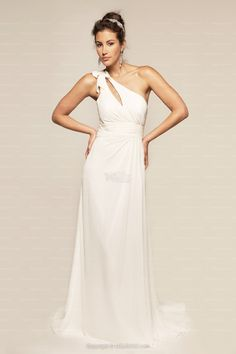 Sheath/Column One Shoulder White Ruched Sash Chiffon Floor-length Cocktail Dress