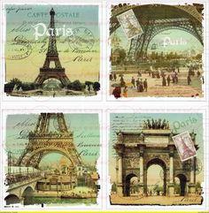 Bügelbilder - A4 Vintage Bügelbild Paris Eiffelturm Shabby Chic - ein Designerstück von Doreens-Bastelstube bei DaWanda