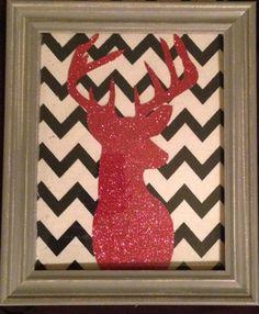 Framed glitter deer silhouette Chevron background by OKchick, $25.00