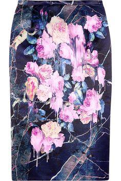 MSGM Floral-print satin pencil skirt NET-A-PORTER.COM
