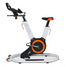 EVO IX Fitness Indoor Bike with Sway Frame and Orb Gear, White/Orange