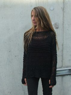 Womens Black sweater BLACK cotton sweater grunge boho por ileaiye